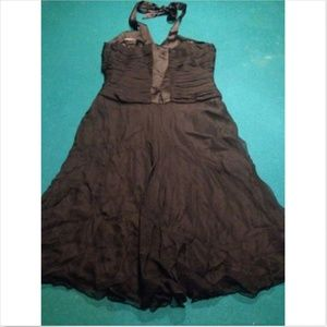 100% SILK Black BEBE Dress Halter